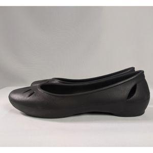 Crocs Black Kelli Round Ballet Flats Sz 10 EUC